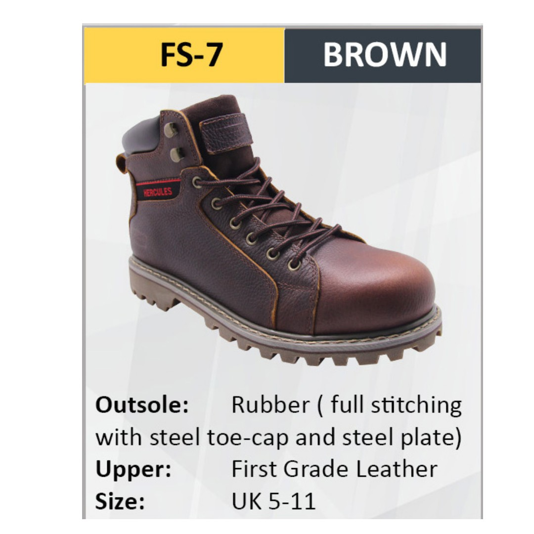 Hercules Safety Shoes First Grade Cow Leather Men Boot Sizes 5-11 SKU-FS7 a0b29d10c4