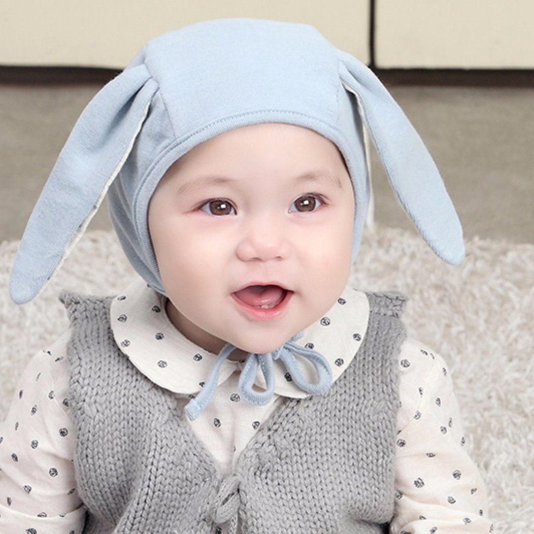 6a1eb874b17 🌟INSTOCK🌟 Blue Bunny Ears Newborn Baby Toddler Beanie Hat Kids ...