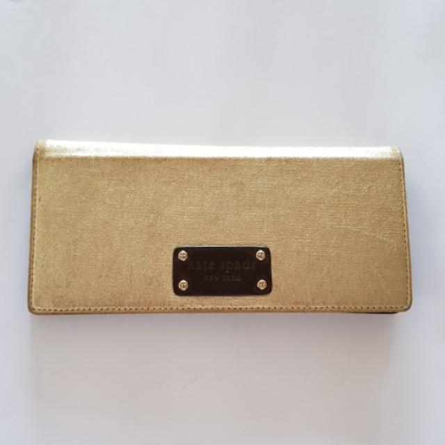 KATE SPADE Gold Checkbook Wallet