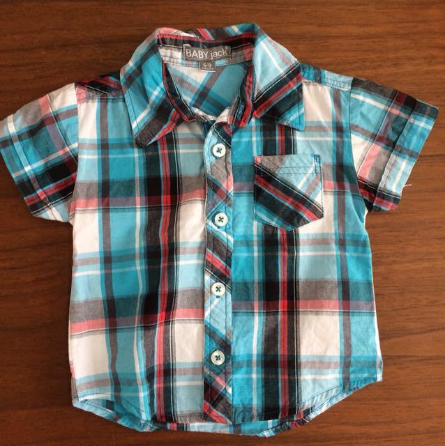Kemeja lemgan pendek boys apparel size 6-9 bulan