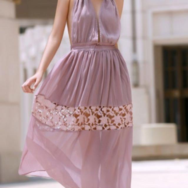 Lace Spliced Maxi Dress