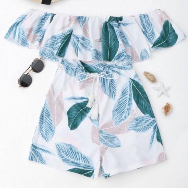 Leaf Print Off Shoulder Playsuit