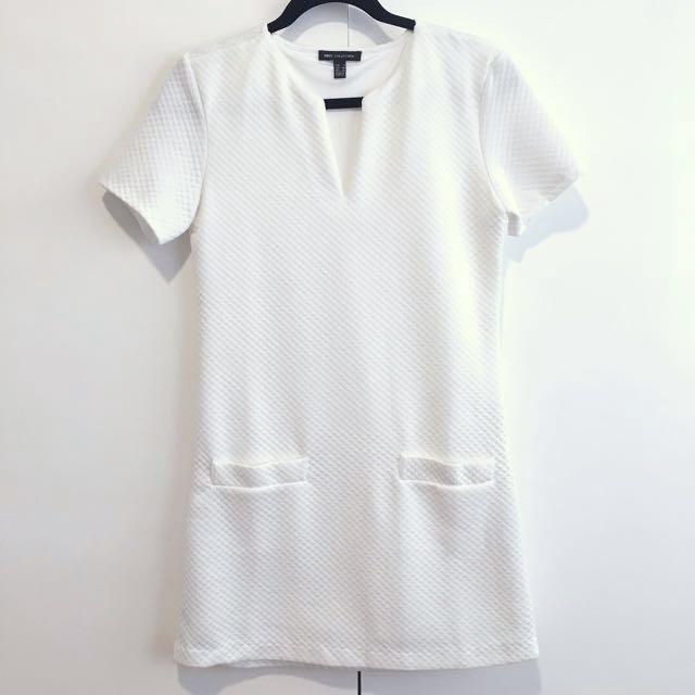 Mango Rhombus textured dress White