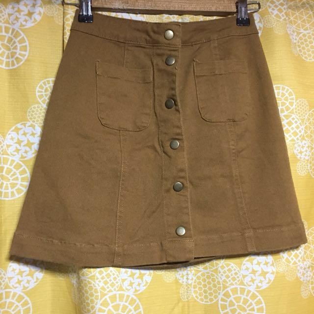Mustard / Brown Buttondown skirt