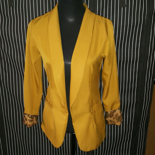 Mustard yellow duster blazer
