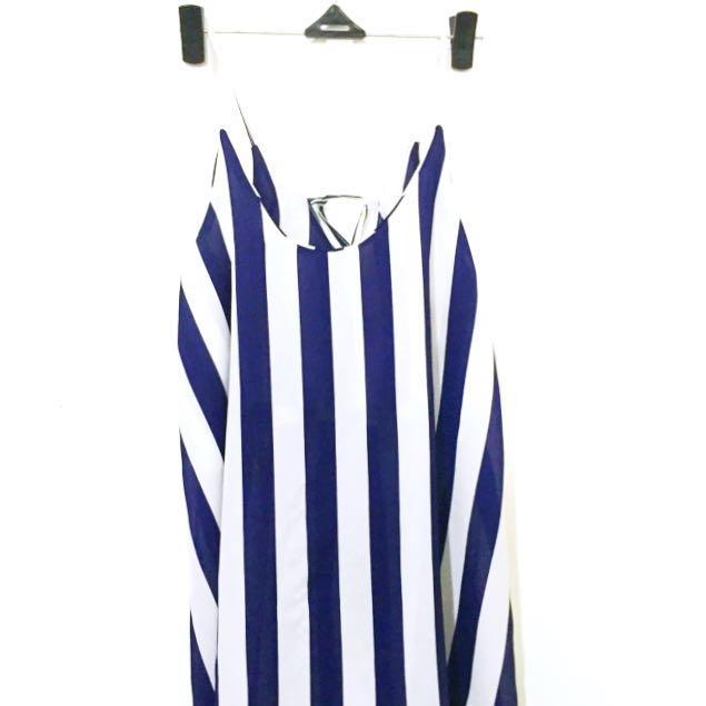 Navy Stripes Chiffon Blouse