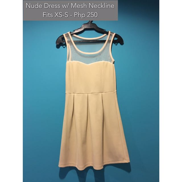 Nude Dress With Mesh Neckline