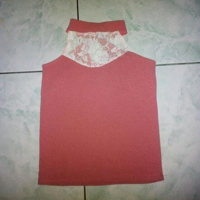 Pink Halter Top w/ lace