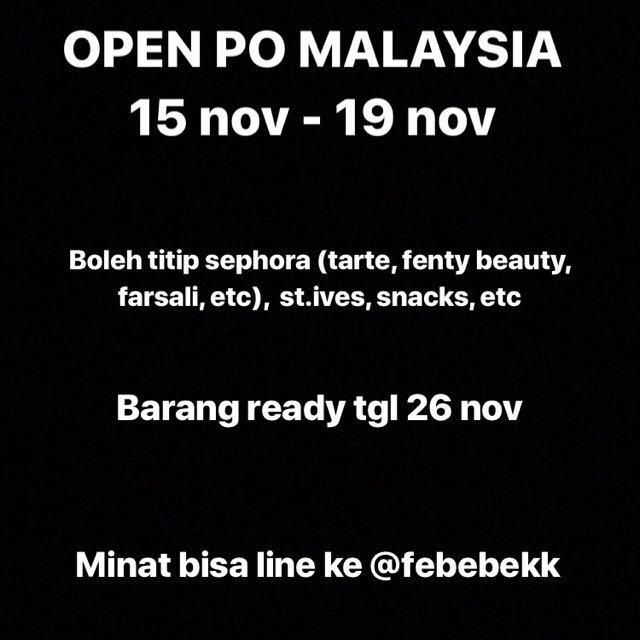 PO MALAYSIA (TARTE, FENTY BEAUTY, FARSALI, BECCA, ETC)