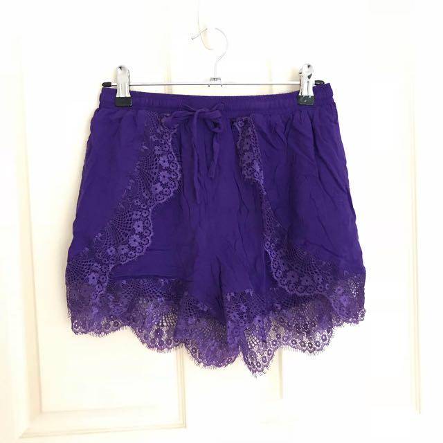 Purple lace shorts