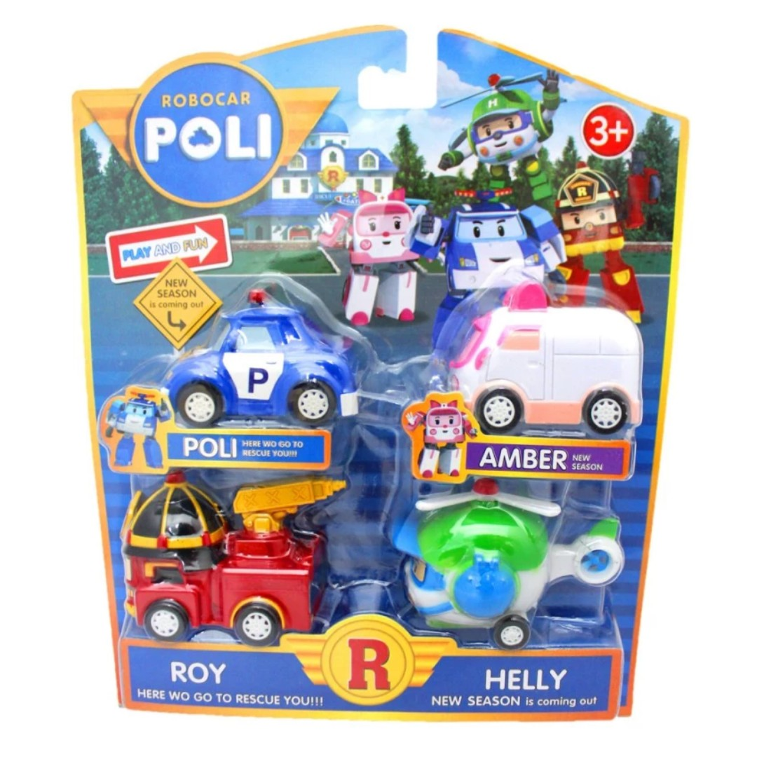 Robocar Poli P2 Vehicle Set (4 in 1)+3 Puzzles Robocar Poli (96pcs)+2 Sticker Robocar Poli