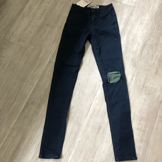 Sampson and Taylor Distressed Women's Skinny Jeans Dark Blue Indigo BNWT Size 6