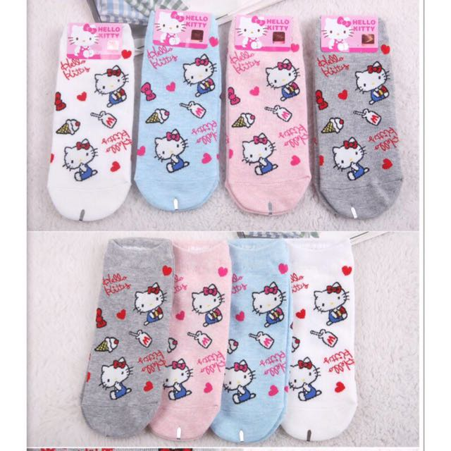韓國帶回~Sanrio 三麗鷗 Hello kitty凱蒂貓 圖案直板襪 短襪 船型襪 隱形襪 學生襪