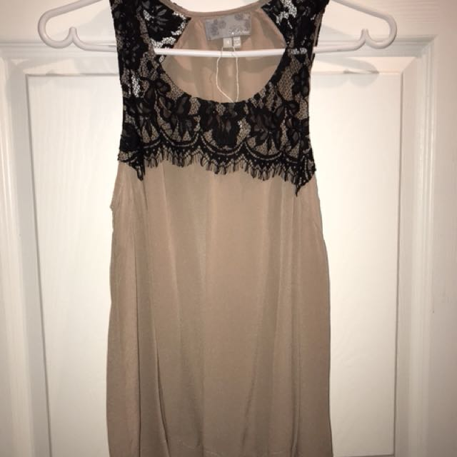 Silk Blend Blouse - Taupe w/ Black Lace, S