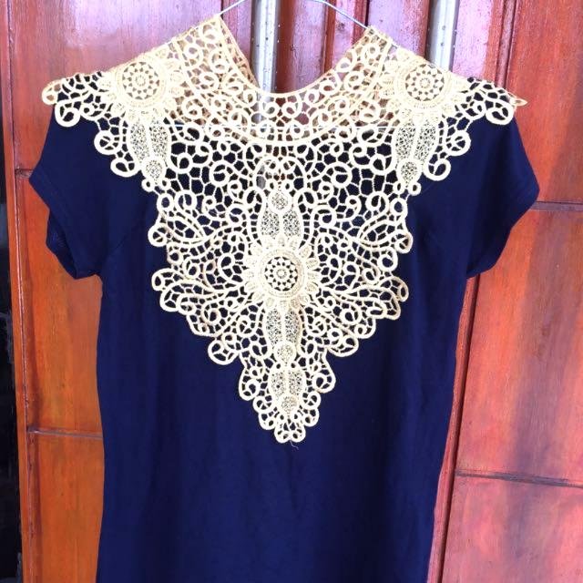 Thsirt Blue Navy Bordir tempel