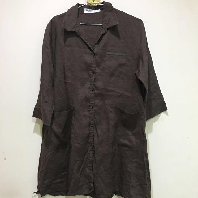 TINA 日韓系棉麻長版上衣
