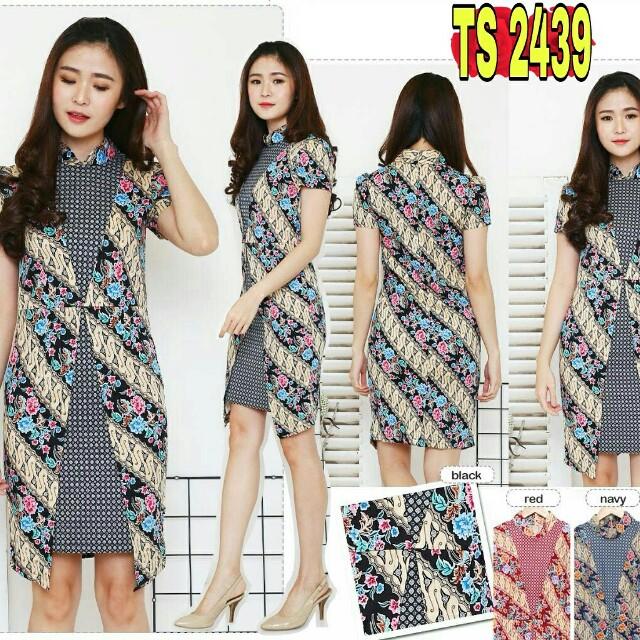 TS2439 Dress Batik Wanita Katun Stretch Turtle Neck Batik Floral Dress 59e5d98c71