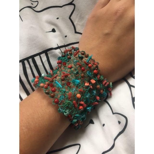 Turquoise and Coral with swarovski beads gemstone bracelet handmade
