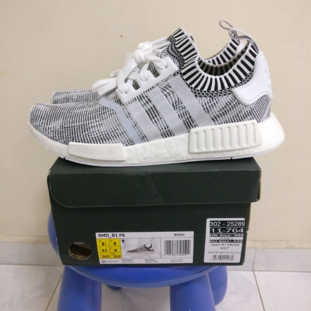 17b1d9a300bc5 UK8 Adidas NMD R1 Oreo PK Zebra