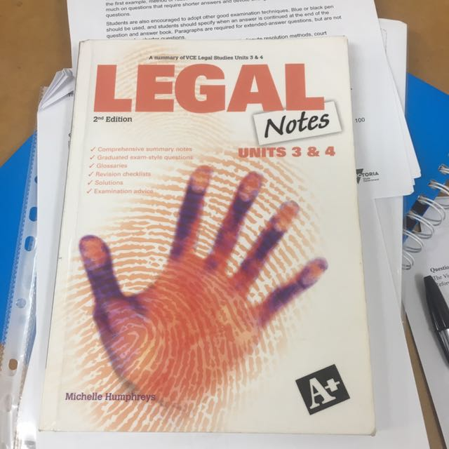 Vce 3/4 legal studies notes book