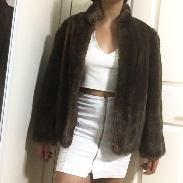Vintage Faux fur brown coat size 10