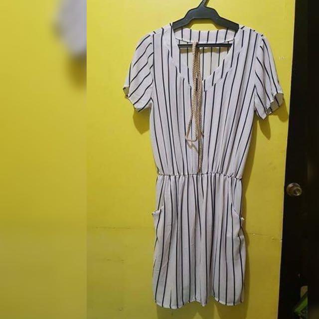 White Striped Dress
