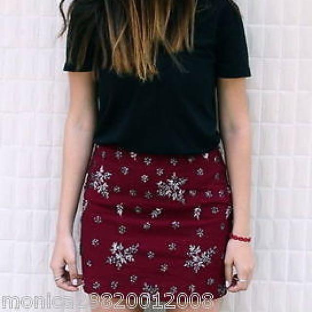 Zara Maroon Beaded Mini Skirt