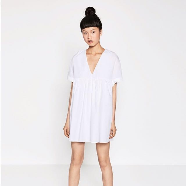 Zara white deep v neck dress womens fashion clothes dresses on zara white deep v neck dress womens fashion clothes dresses on carousell mightylinksfo
