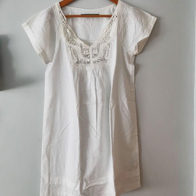 Zara white shift dress