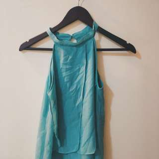 Blue Green Sheer Triangle Tank