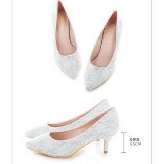 Mori girl 細緻蕾絲微尖中跟婚鞋 白色40號 (婚紗.外拍.新娘.尖頭鞋.跟鞋)