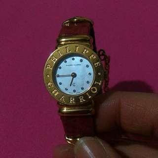 夏利豪絕版皮錶帶金鑽鍊錶