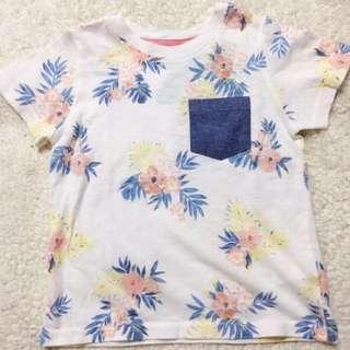 Gingersnaps 渡假風棉質T恤 上衣 童裝 男寶 女寶 熱帶風 牛仔 口袋
