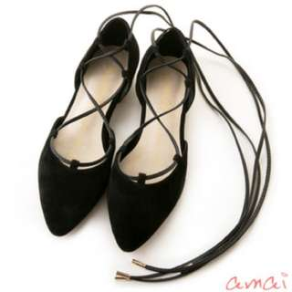 Amai麂皮綁帶芭蕾舞鞋(黑34號)