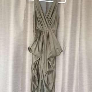 Metallic light olive Green Party dress size XS