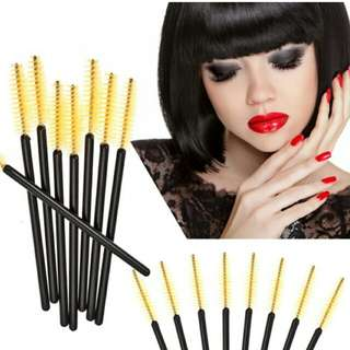 50pcs Disposable Eyelash Brush Mascara Wands Applicator Makeup Tool (Black Yellow)