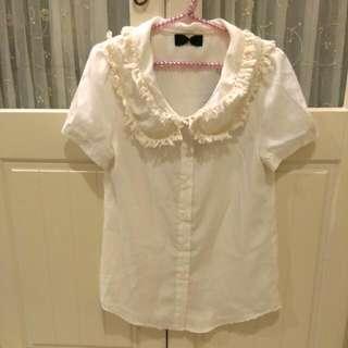 ❤雪紡紗材質流蘇領飾短襯衫