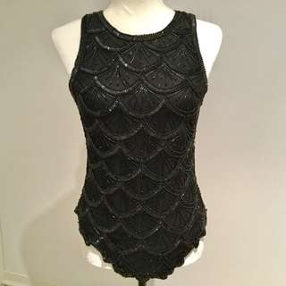 HOLT HONFREW BLACK SEQUINNED SILK TANK TOP - MINT CONDITION