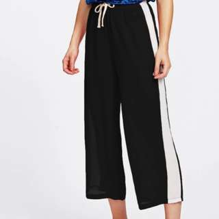 Black Cropped Wide Leg Pants