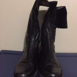 franco sarto pair of black leather tall boots