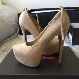 """Size 6.5, Nude, 5.5"""" Ankle Strap Pumps"""