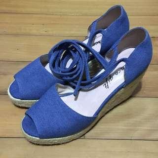 grace gift草編丹寧綁帶楔型鞋(24.5)