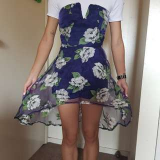 Brand new w/ tag blue strapless floral dress