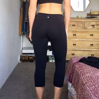 LULU LEMON COTTON TIGHTS - M