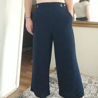 Navy high waisted culottes