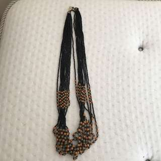 Natural style black/ brown/green beads necklace