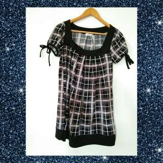 Korean-checkered dress(black)