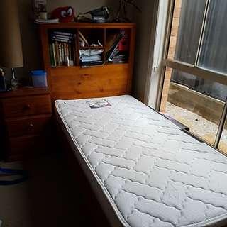 SINGLE BED WITH BOOKSHELF & MATTRESS