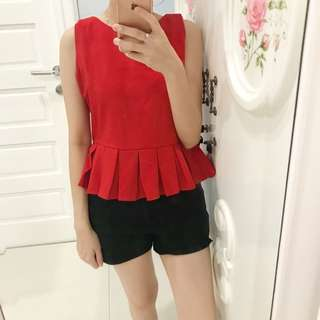 Peplum top red