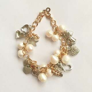 Charm Bracelet with Fresh Water Pearls